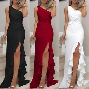 Women-One-Shoulder-Ruched-Ruffle-Formal-Evening-Dress-Clubwear-Maxi-Sheath-Plus