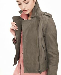 9d85f9289 Details about New BR Banana Republic Heritage Gray Leather Moto Biker Crop  Jacket $448 XS