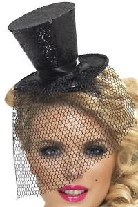 aad51d331 Details about Black Glitter Mini Top Hat on a Headband New Years Eve  Burlesque