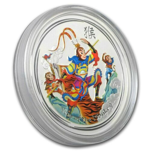 2016 ~ PURE .999 SILVER ~ 1~Z~ MONKEY KING ~ UNCIRCULATED COLOR ~CAPSULE~ $39.88