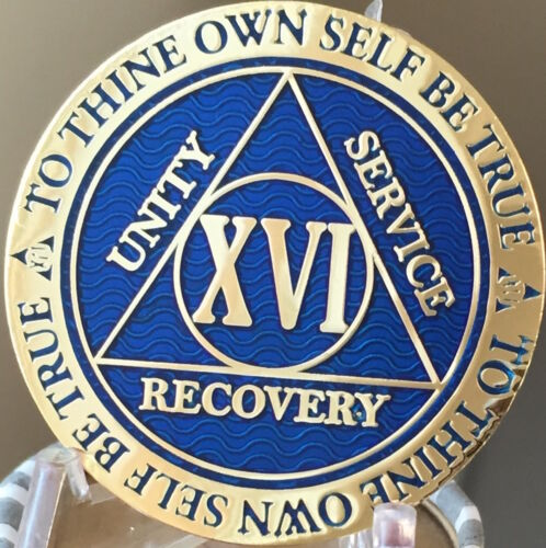16 Year AA Medallion Blue Gold Plated Alcoholics Anonymous Sobriety Chip Coin