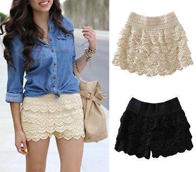 Korean Fashion Womens Sweet Cute Crochet Tiered Lace Shorts Skorts Short Pants