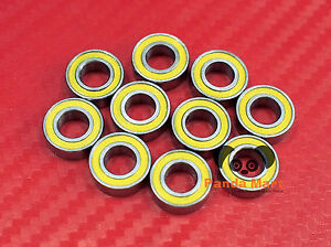 60pcs 695-2RS (5x13x4 mm) Yellow Rubber Sealed Ball Bearing Bearings 5 13 4
