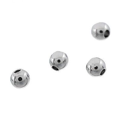 250 Edelstahl Rund Spacer Perlen Beads Silberfarbe 3mm Dia.