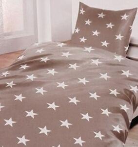 Biber Bettwäsche Grau Mit Sternen 135 X 200 Cm 80 X 80 Cm 100