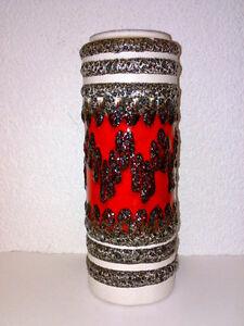 Vase-Scheurich-FAT-LAVA-Zig-Zag-203-26-H-26-cm-WGP-German-Mid-Century-Pottery
