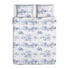 IKEA Emmie Land Duvet Quilt Cover Pc Set Romantic Garden White - Blue and white toile duvet cover