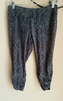 Soybu Gray and Black Yoga Capri Pants, rouched hems  Size Medium