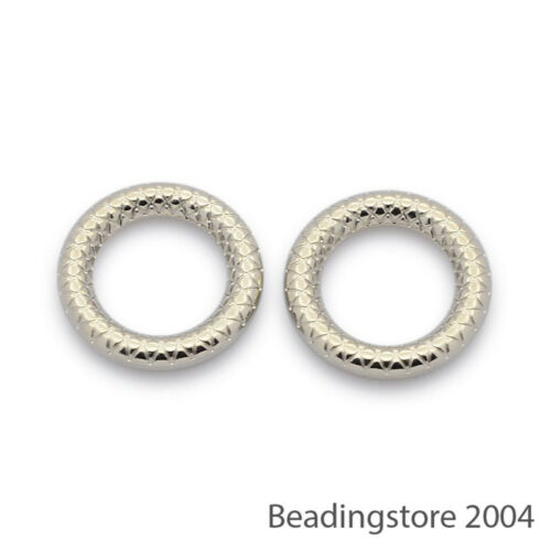 50pcs Platinum Tone Carved Acrylic Donut Beads Link Ring Findings CCB Style 20mm