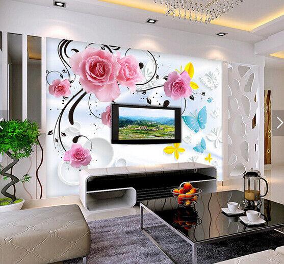 3D Flower Butterfly79 Wallpaper Mural Paper Wall Print Wallpaper Murals UK Carly