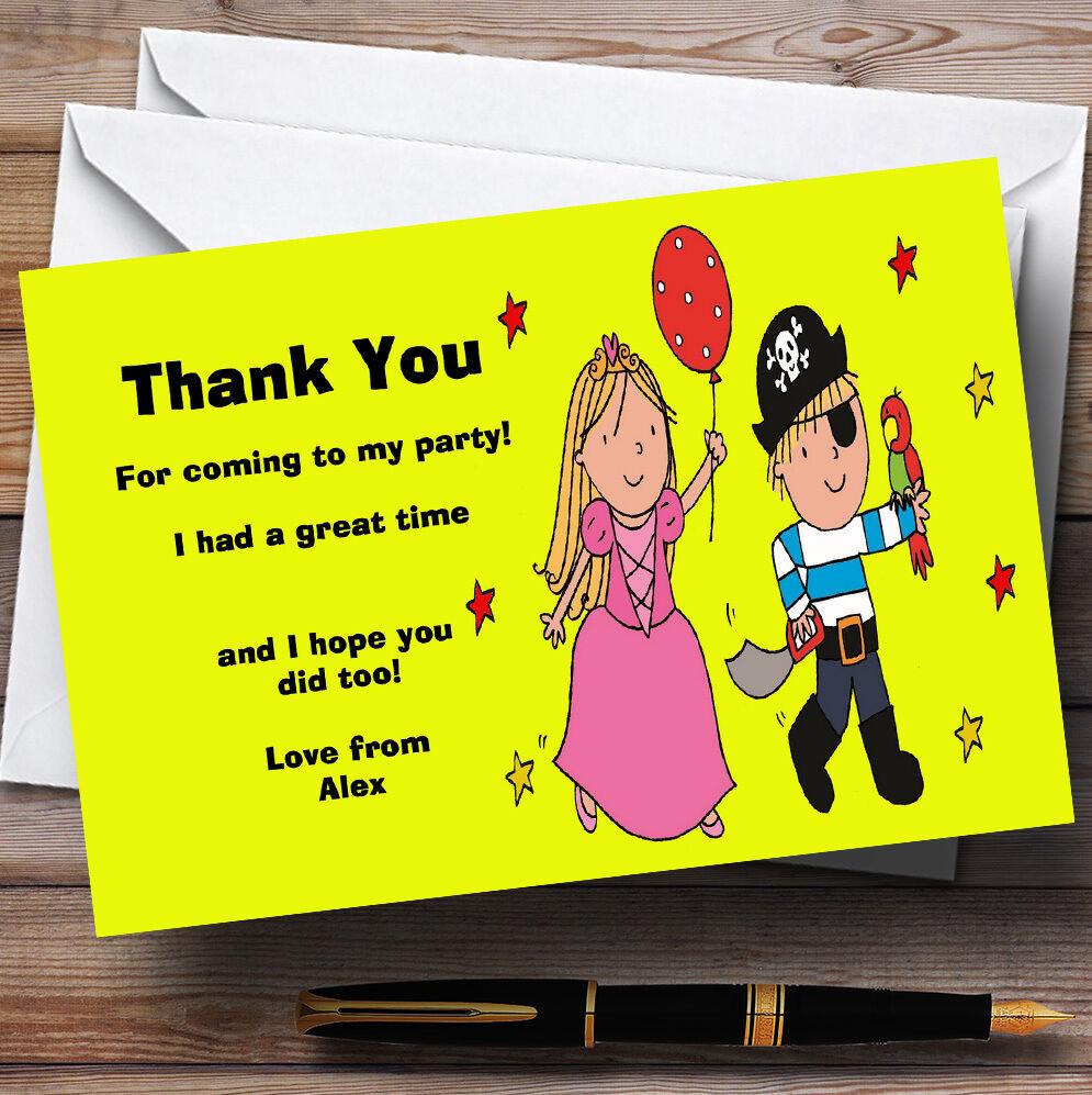 Pirate jaune et Princesse Fête D'Anniversaire personnalisés vous remercier remercier remercier cartes c345a8