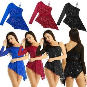 Women-039-s-Sequins-Mesh-Panels-Lyrical-Modern-Dance-Asymmetric-Ballet-Leotard-Dress