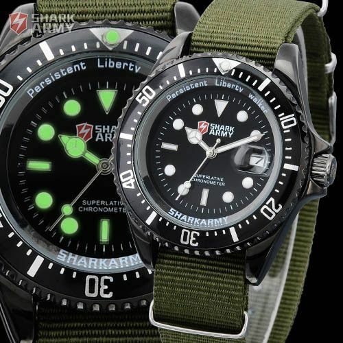 SHARK ARMY Mens Green Nylon Date Luminous Military Sport Quartz Watch + Box