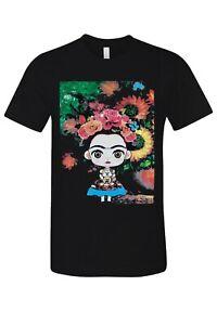 Frida-Kahlo-Cartoon-Cute-Art-T-Shirt-Novelty-family-Funny-Tee-Black-New