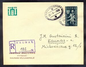 11200 Lithuania,1939,Special registered cover in Kaunas with 2 special postmarks
