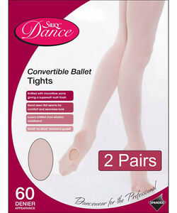 2-Pairs-Silky-Childrens-Girls-Convertible-Foot-Dance-Ballet-Tights-2-Pairs