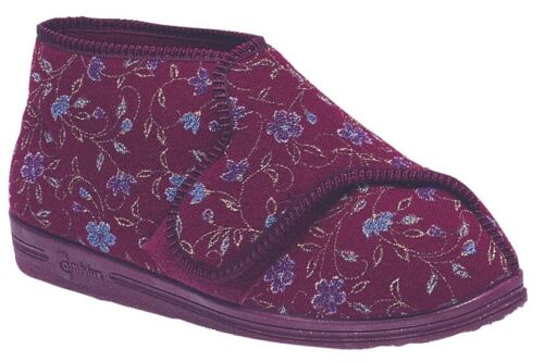 LADIES SIZE 3 4 5 6 7 8 9 RED COMFYLUX EEEE WIDE TOUCH FASTENING BOOT SLIPPERS