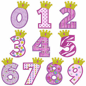 Princess 1 numbers machine applique embroidery patterns 10 image is loading princess 1 numbers machine applique embroidery patterns 10 dt1010fo