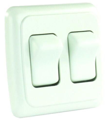 White Double SPST On-Off Switch with Bezel Car RV Trailer /& Camper Parts Spare