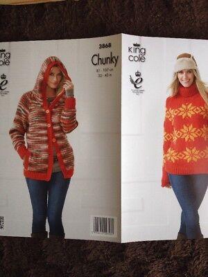 King Cole Knitting Pattern 3868 Ladies Hoodie /& Sweater 32-42in ChunkySee Det