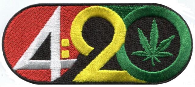 4 20 Logo Marijuana Pot Leaf Cannabis Weed 420 Applique Iron On