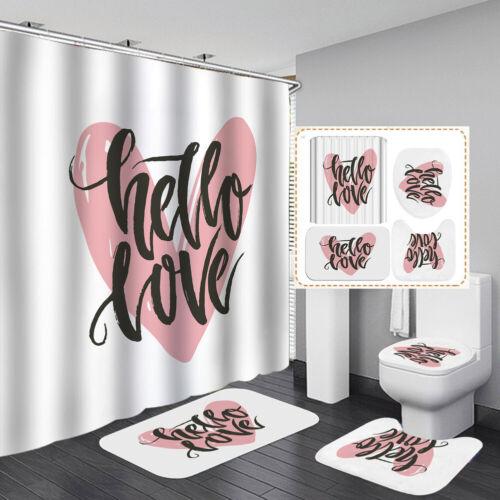 2020 New Black Shower Curtain Bath Mat Toilet Cover Rug Bathroom Decor Set