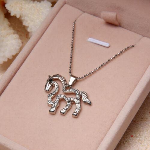Pferd Halskette Anhänger Silber Strass Pony Kette Mädchen Pferde Kinder Schmuck