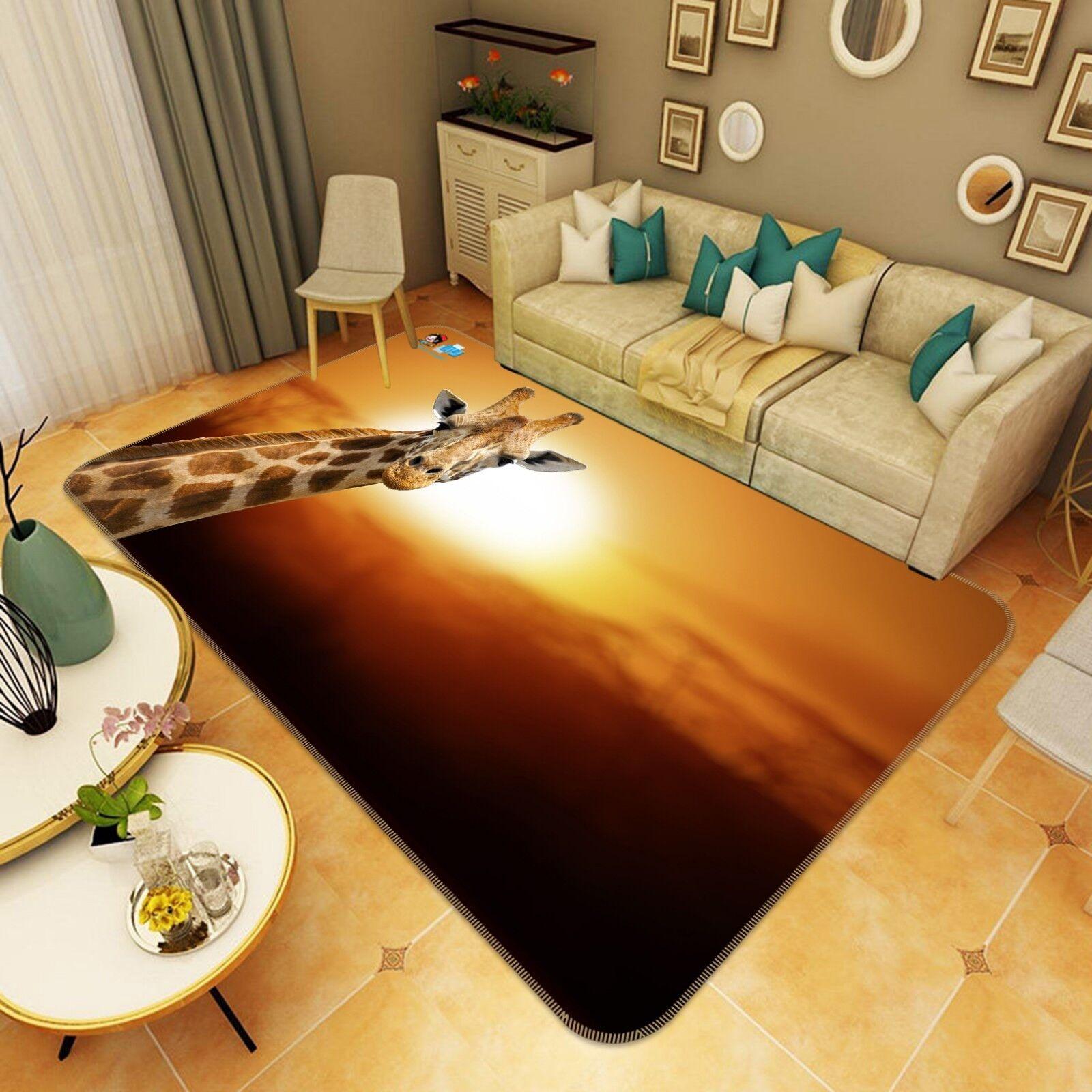 3D Dusk Giraffe 0201 Tapis de protection non glissant pour tapis, Tapis Photo élégant, US Carly