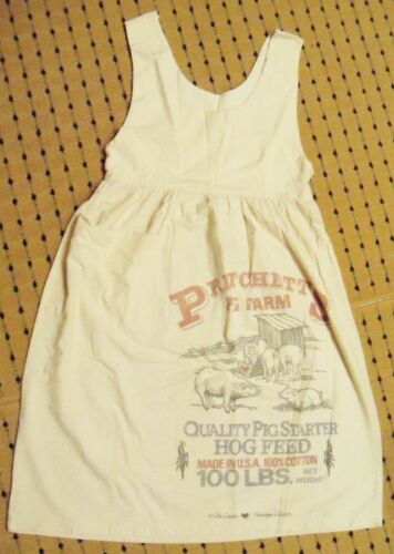 Vintage Feedsack Feed Sack Dress Big Branded Pritt