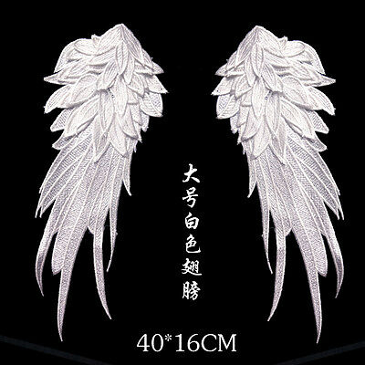 ANGEL WINGS EMBROIDERY Lace PATCH sew / iron on patch Black, White Applique