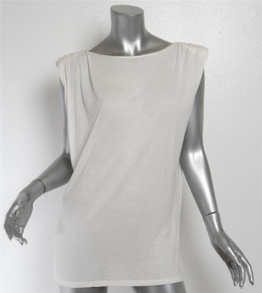 LANVIN damen Ivory Shoulder Pad Draped Stretch Sleeveless Top Blouse M
