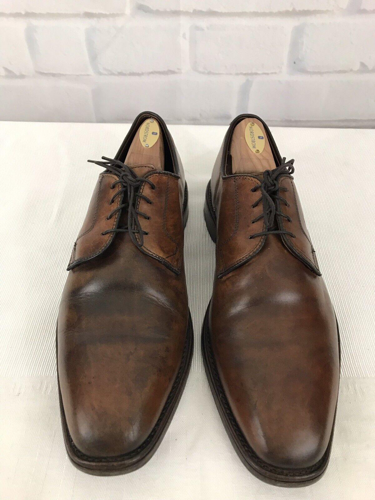 "Allen Edmonds ""Easton"" brown leather oxford burnished toe mens shoes Size 10 D"