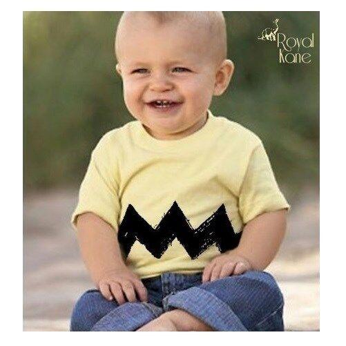 Cartoon Charlie brown light Yellow Black Zig Zag Toddler Boys Shirt