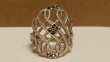 Big Vintage Ladies Sterling Silver Marcasite Ring - Size 7 - True Beauty