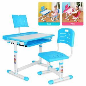 Kids Functional Desk and Chair Set Height Adjustable Height Children Study Desk