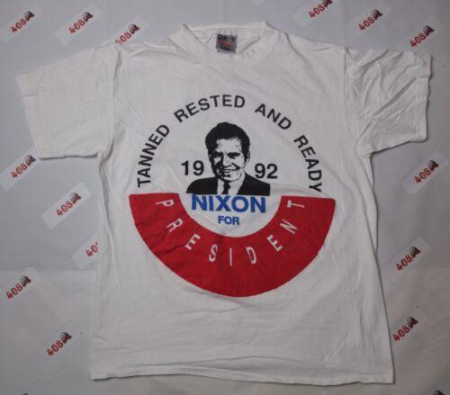 Vintage Nixon Shirt Men's Large White President On