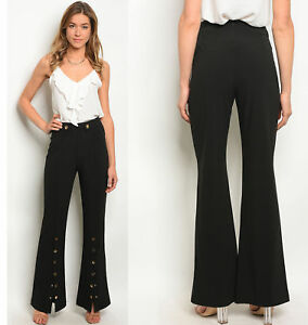 Sexy Womens High Waist Clubwear Fitted Flared Wide Leg Trousers
