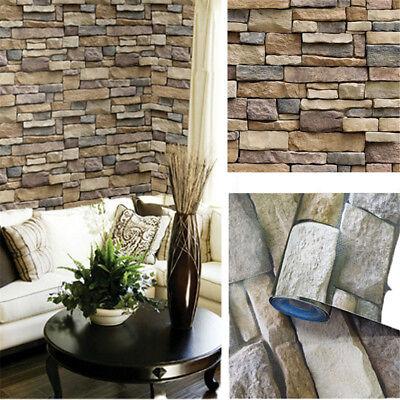 3D Brick Stone Rustic Effect Self-adhesive Wall Sticker PVC Home Decor Wallpaper