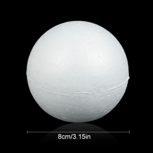 10pcs Polystyrene Foam Balls Craft Solid Round Spheres Christmas Decor 6Sizes