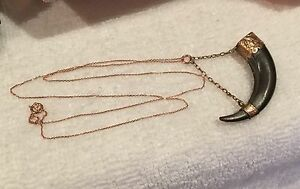 ANTIQUE-VINTAGE-VICTORIAN-HORN-FOB-CHARM-PENDANT-9ct-ROSE-GOLD-9ct-R-GOLD-CHAIN
