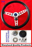 1966 Dodge Charger Black & Chrome Steering Wheel 14 1/2 Wheel, Horn Kit, Cap