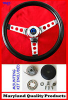 1966 Dodge Charger Black & Chrome Steering Wheel 14 1/2 Wheel, Horn Kit, Cap
