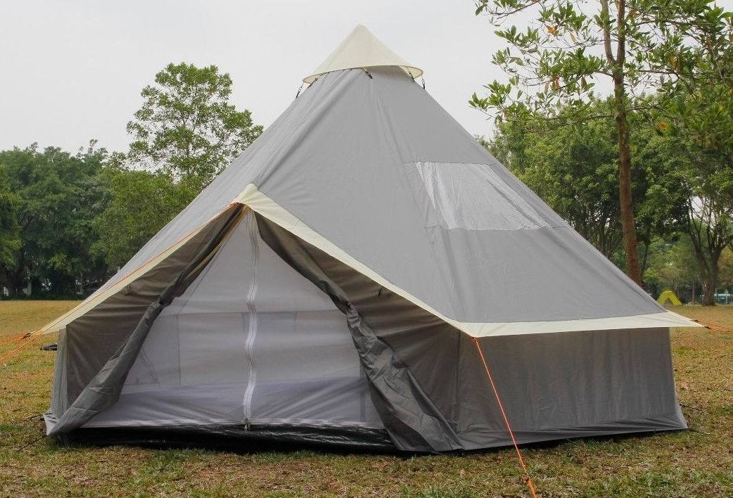Bell Tent 8  10 Person Tent Zipped-in-Ground sheet 4M   5M  Family Camping Grey