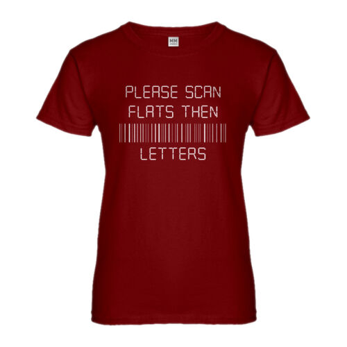 Womens Please Scan Flats Then Letters Short Sleeve T-shirt #3150