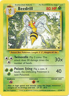 Beedrill Rare Pokemon Card Base Set Unlimited English 17//102