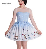 Hell Bunny Mini Dress NEVARA Noelle Snowflake Christmas Blue All Sizes