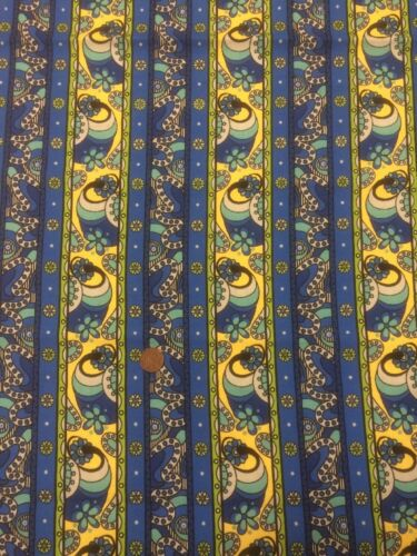Fabri-Quilt Spyrogyro 9144 Blue Yellow Patchwork Quilting Fabric  100/% Cotton
