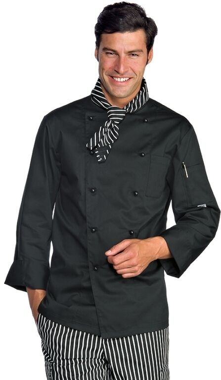 Chaqueta Cocinero Isacco Grandi Talla Black Big 3xl 4xl 5xl Made In Italy