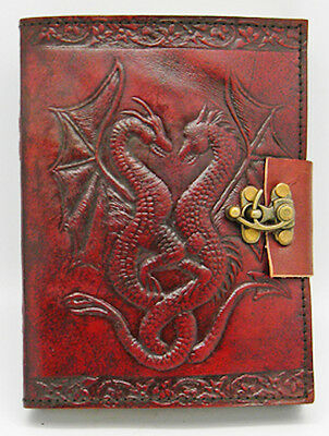 """5""""x7"""" LOCKING Leather Bound DOUBLE DRAGON Book of Shadows, Journal, Diary!"""
