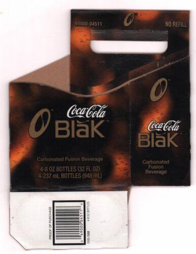 Coca Cola Cardboard 4-Pack Bottle Case Discontinued 2006 Coca Cola Blak